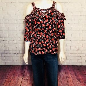 Maurice's Cold Shoulder Top M Floral Cage Chest